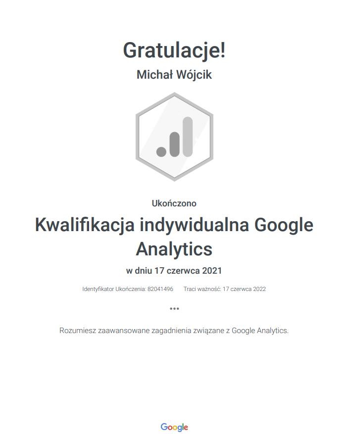 Certyfiakt Google analytics